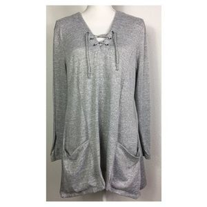 Maurices L Heather Gray Lace Up Neck Top